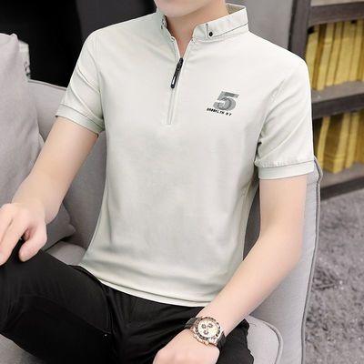男士韩版修身T恤男 青少年立领翻领polo衫男95棉包邮衬衫
