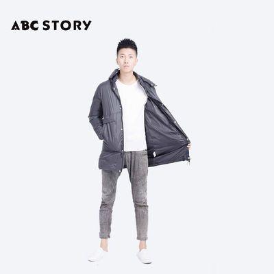 ABC STORY男士秋冬新款羽绒服保暖休闲带帽外套中长款90%鸭绒A13