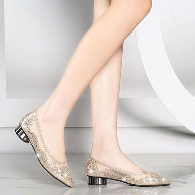 2020爆款【买1送4】镂空单鞋平底妈妈鞋女尖头大码低跟水钻网纱包