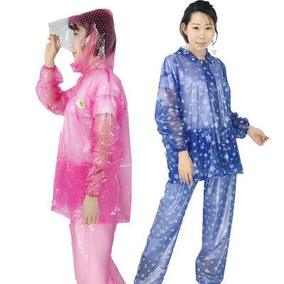 新款雨衣雨裤套装成人男女防水全身分体户外透明薄款野趣雨衣雨知