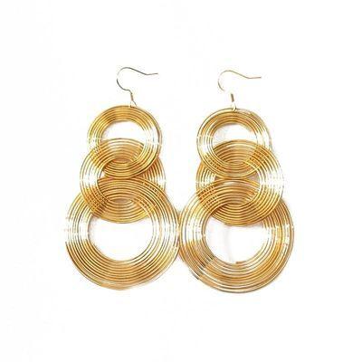 韩国时尚夸张长款流苏圆圈圈耳环欧美夜店性感复古金色大耳钉饰品