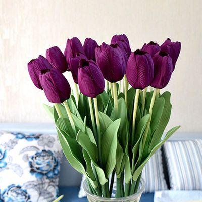 新款【可选含瓶】高仿真郁金香绢花干花室内假花客厅餐桌摆设装饰