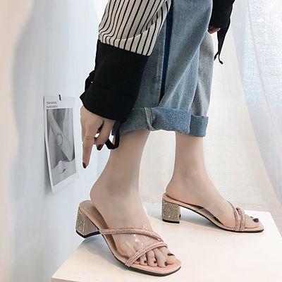 2020新款拖鞋学生仙女风夏季新款女高跟粗跟女士性感外穿水钻凉鞋