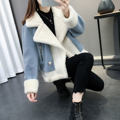 爆款秋冬装2020新款羊羔毛外套女短款宽松针织皮毛一体加厚毛衣开