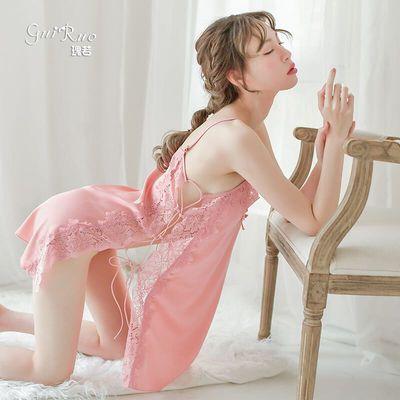 性感情趣睡衣睡裙女夏天真冰丝绸蕾丝套装情侣全透明露胸吊带免脱