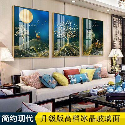 客厅装饰画三联画挂画沙发背景墙壁画卧室床头画餐厅有框画玻璃面