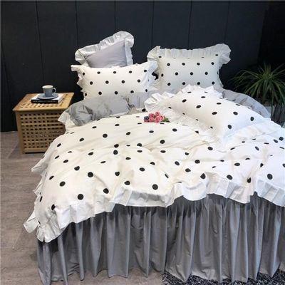 ins少女心公主风四件套韩式全棉纯棉床单被套床裙款网红床上用品