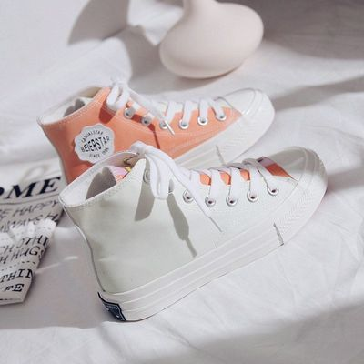 新款渲染变色帆布鞋高帮鞋秋季遇光潮鞋感光仙气休闲板鞋梦幻低帮
