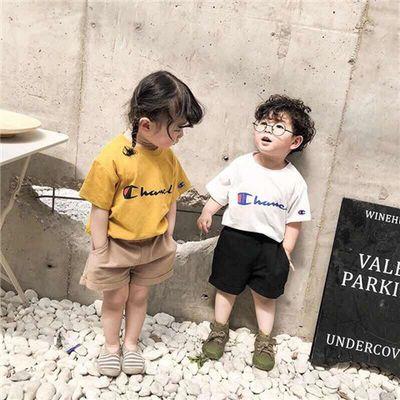夏季儿童冠军短袖t恤2岁男女3宝宝4纯棉半袖上衣时尚潮牌新款童装