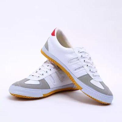爆款排球鞋牛筋底训练武术锻炼运动帆布鞋男女跑步鞋网田径透气鞋
