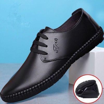 透气新款男士英伦休闲商务皮鞋驾车鞋正装工作鞋懒人鞋中年爸爸鞋