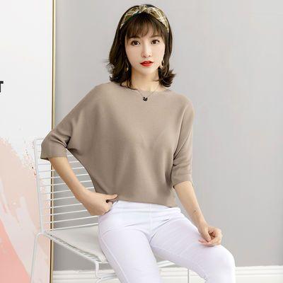 日本原单春夏新款宽松显瘦女士T恤 简约百搭纯色高品质中袖蝙蝠衫