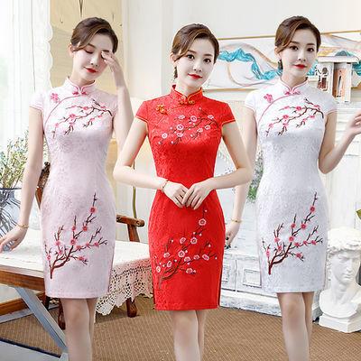 旗袍连衣裙2020夏季新款短袖短款旗袍裙女上衣修身白色刺绣祺袍