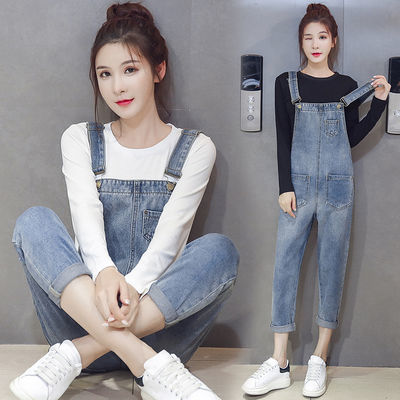 两件套牛仔背带裤女学生宽松韩版春夏套装九分裤子显瘦新款吊带裤