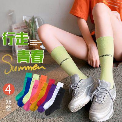 3双装黑色中筒袜子女夏季ins风潮流网红街头欧美春夏长筒袜小腿袜