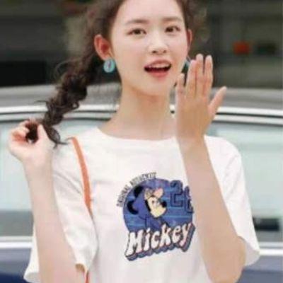 女装休闲韩版宽松白色短袖T恤100%纯棉效果与图片一致实拍。