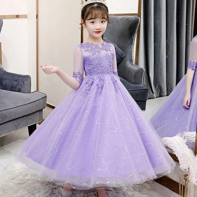 女童连衣裙儿童公主裙礼服春秋新款蓬蓬纱演出服小女孩裙子洋气夏