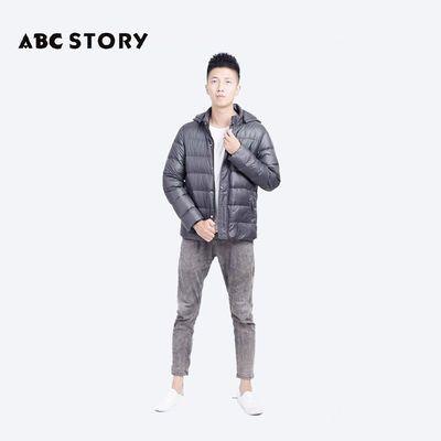 ABC STORY男式新款羽绒服短款保暖外套轻薄连帽潮流轻便防风A11
