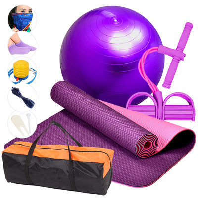 爆款TPE瑜伽垫套装加厚瑜伽球瑜珈垫子防滑毯瑜伽垫仰卧起坐垫健
