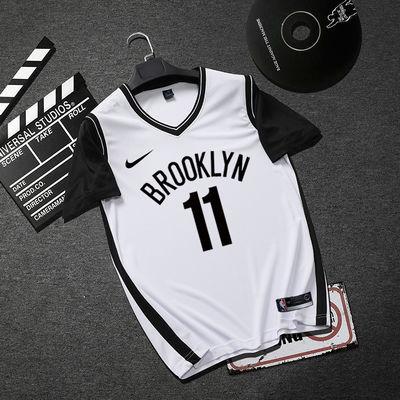 新款假两件球衣11欧文詹姆斯男女定制NBA篮球服篮网湖人短袖套装