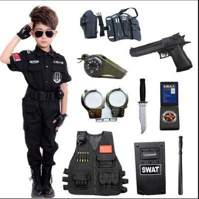 新款新品儿童电动玩具枪套装小特警察衣服男孩绝地求生吃鸡装备aw