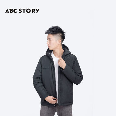 ABC STORY男士新款羽绒服连帽保暖休闲外套潮流时尚百搭鸭绒A12