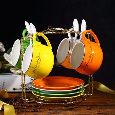 欧式咖啡杯套装简约陶瓷杯英式欧美陶瓷红茶杯下午茶杯茶具送架