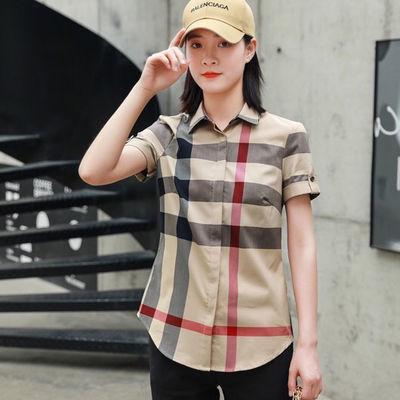 B家英伦女士经典格子衬衫商务休闲日常百搭夏季时尚短袖纯棉衬衫