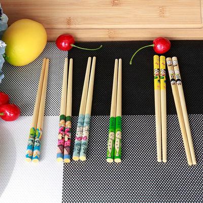 儿童竹木筷子家用小孩幼儿园专用短款练习筷可爱卡通防滑筷18包邮