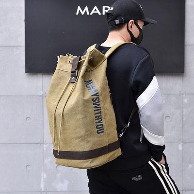 新款双肩背包帆布水桶包男书包学生大容量户外旅行登山运动篮球包