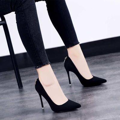 2020春季新款超高跟鞋细跟百搭时尚浅口女鞋性感黑色尖头春秋单鞋