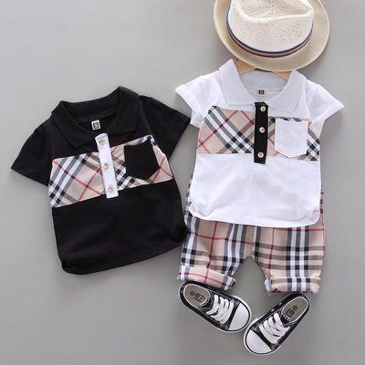 男童夏季短袖套装2019夏季新款洋气纯棉polo衫短裤两件套休闲韩版