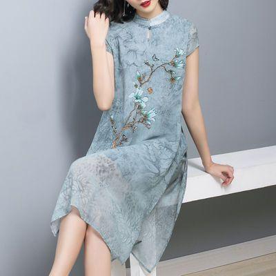 妈妈连衣裙夏装高贵洋气45岁2020新款气质阔太太旗袍中年女裙子薄