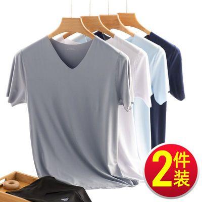 15223/男士短袖t恤男冰丝2021新款上衣白色打底衫白t半袖纯色体恤衫夏季