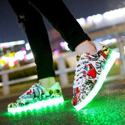 新款充电闪光灯鞋鬼步鞋荧光鞋夜光鞋女发光鞋男学生儿童街舞鞋单