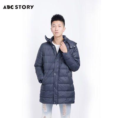 ABC STORY男士新款鸭绒羽绒服中长款保暖防风外套A8