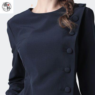 画朴欧洲站设计感圆领格子衫衬衣女长袖显瘦新款时尚复古收腰衬衫