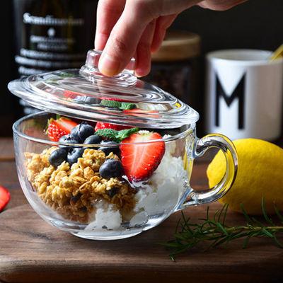 钢化透明玻璃碗带盖家用耐热玻璃加厚早餐麦片碗微波炉水晶燕麦杯