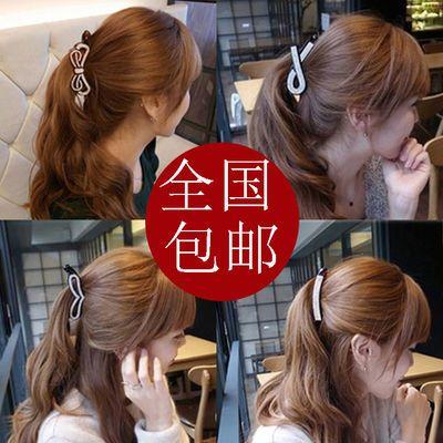 小号竖夹发夹马尾夹韩版珍珠发饰头饰韩国镶钻水钻蝴蝶结香蕉夹大