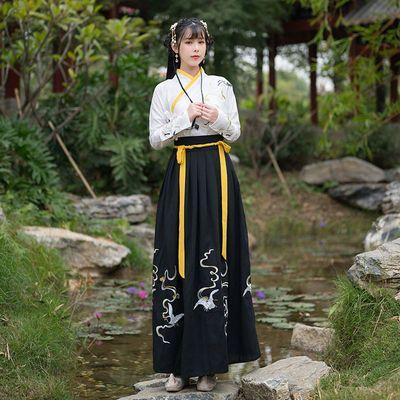 原创新款日常汉服女装古装改良唐装古风绣花交领上襦齐腰襦裙套装