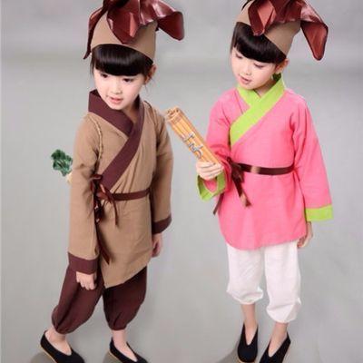 新款儿童汉服男童装宝宝古装男小和尚衣服小书童锄禾三字经表演出