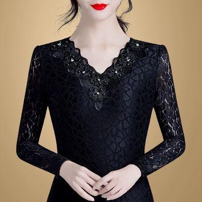 蕾丝打底衫时尚百搭小衫女2020春秋新款薄/厚加绒女装v领洋气上衣