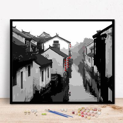 DIY数字油画风景建筑客厅现代简约情侣大幅手绘装饰画梦幻别墅