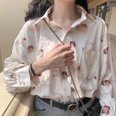 67880/日系灯笼袖天使印花BF风复古港味少女设计感衬衣上衣长袖雪纺衬衫