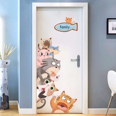 可爱猫咪门贴贴画房间宿舍创意装饰品墙贴画贴纸温馨墙纸自粘卧室