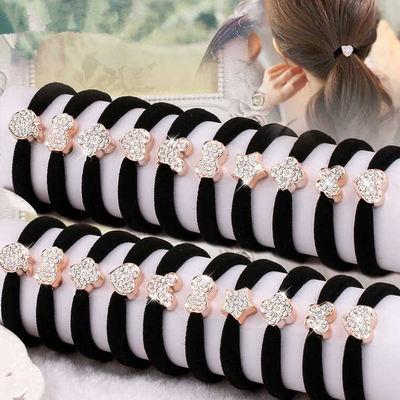 【10-200根】镶钻无缝卡通头绳黑色高弹力耐用发绳发饰成人女皮筋
