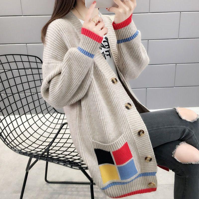 新款女韩版外套女春秋毛衣外套春装2020宽松中长款很仙的针织开衫