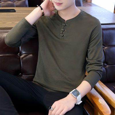 男士棉麻长袖t恤潮流夏秋季中国风盘扣夏天休闲中青年男装2020款