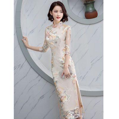 旗袍改良版连衣裙中国风端庄大气优雅长款中年少女妈妈装年轻款