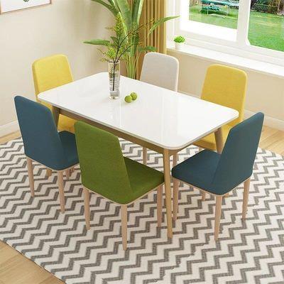 北欧风实木餐桌椅组合家用小户型简约饭店餐厅长方形吃饭桌子套装